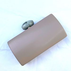 Gregory Ladner Neutral Taupe Clutch Bag With Stone Push Lock